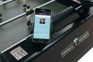Smartphone connecté à L'eBabyfoot Bonzini Tecbak